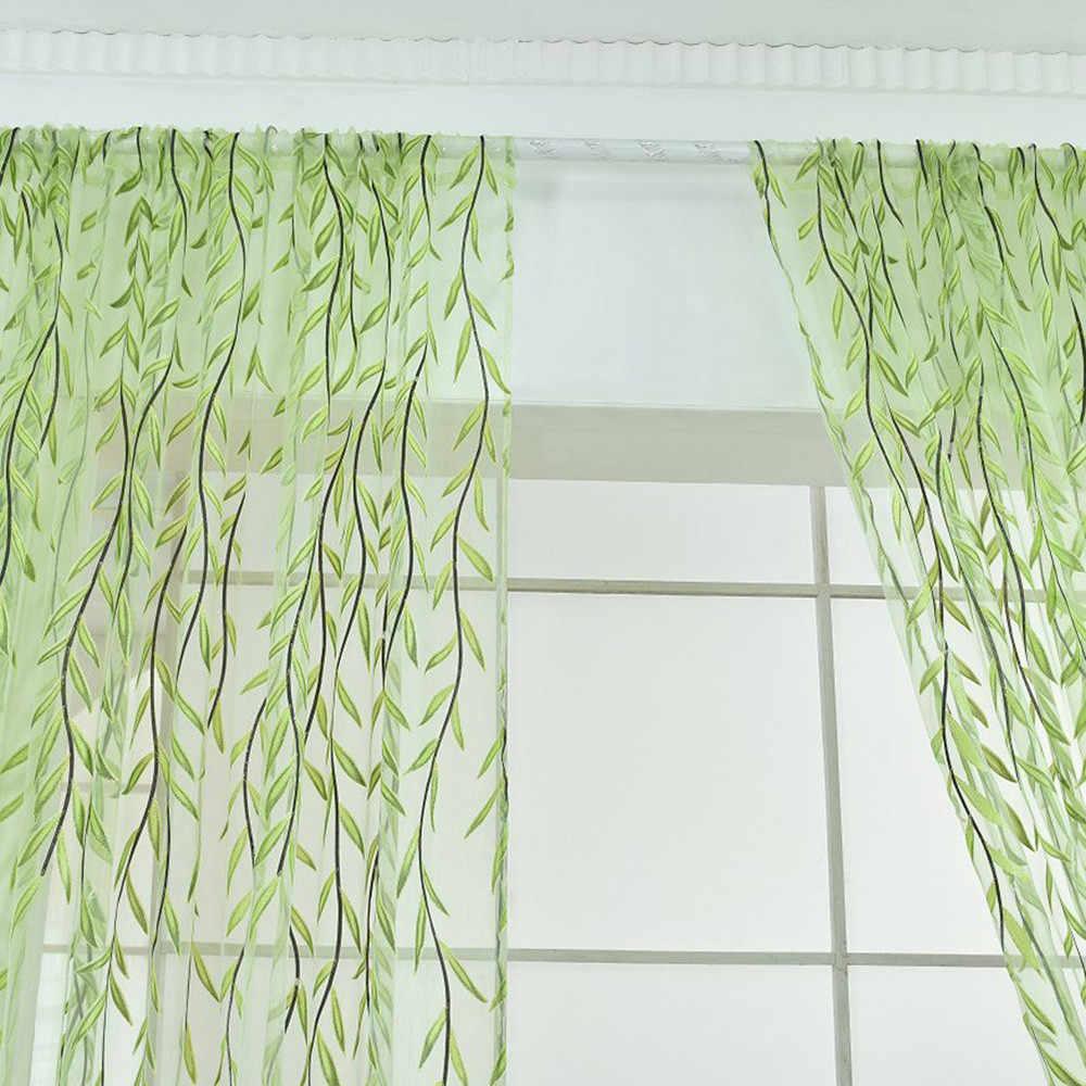 Willow Voile Tüll vorhang Hohe qualität gewinde fenster vorhang tür mode stickerei Grün drop verschiffen Hause Baum Novem 19th