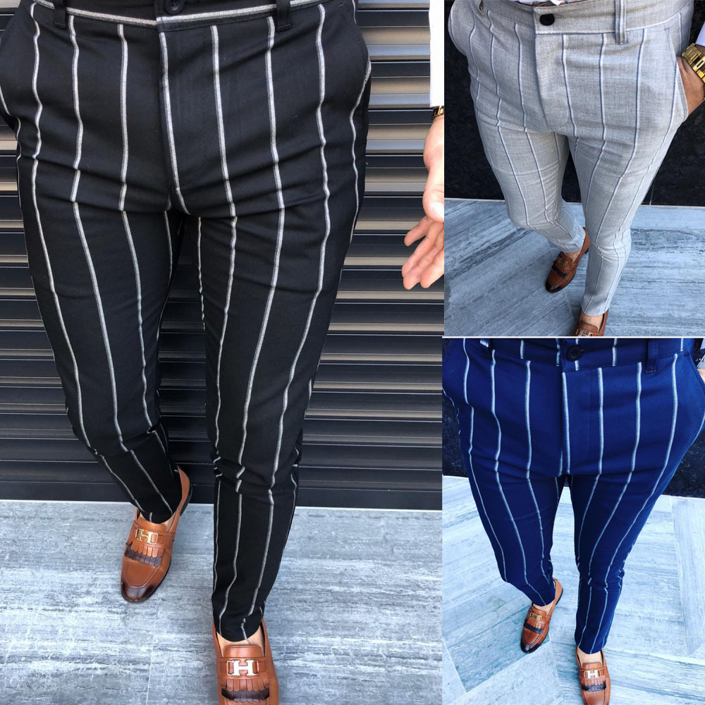 Men Formal Business Striped Pencil Pants Slim Fit Casual Ankle Length High Waist Long Trousers