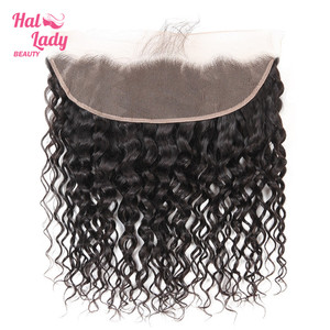 Image 1 - Halo Lady Beauty Natural Water Wave Lace Frontal With Baby Hair Brazilian Human Hair Weft 13*4 Frontal Closure Non remy