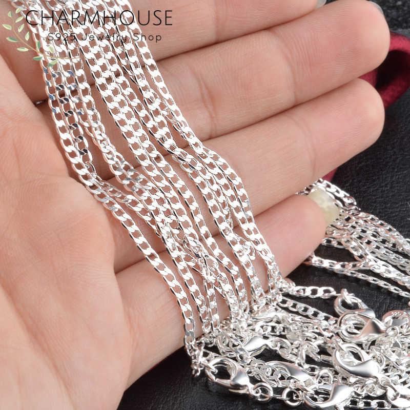 925 Sterling Silver naszyjniki dla kobiet mężczyzn 16-30 cal Link Chain długi naszyjnik Collier Choker biżuteria akcesoria prezenty