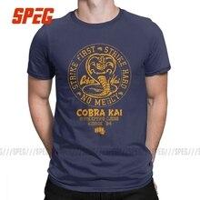 Men's T-Shirt Cobra Kai Vintage Cotton Tee Shirt Short Sleeve Karate Kid T Shirt Crew Neck Tops Plus Size Clothing for Male