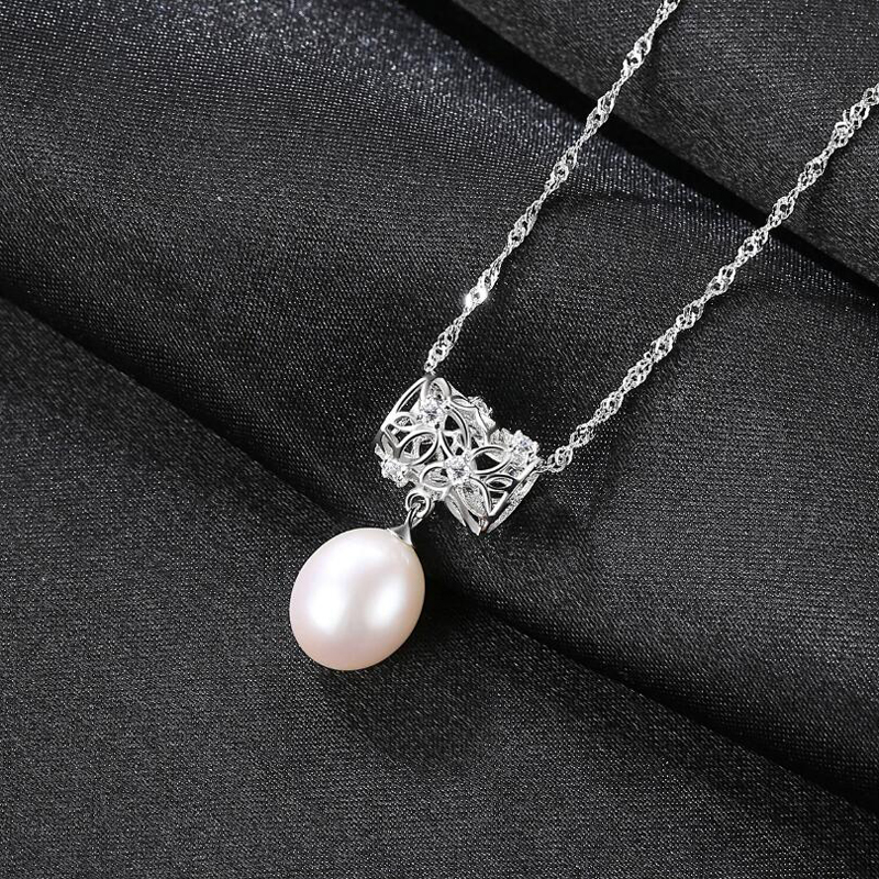 [MeiBaPJ]Real Freshwater Pearl Simple Personality Pendant Necklace 925 Solid Silver Pendant Fine Jewelry for Women