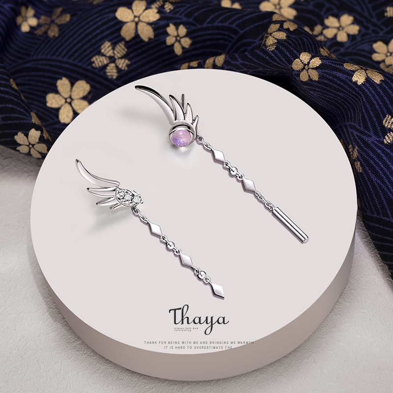 Thaya Tassel Real 925 Sterling Silver Earring Dangle Feather Earring High Quality Japanese Stylish For Women Earring Fine Jewely