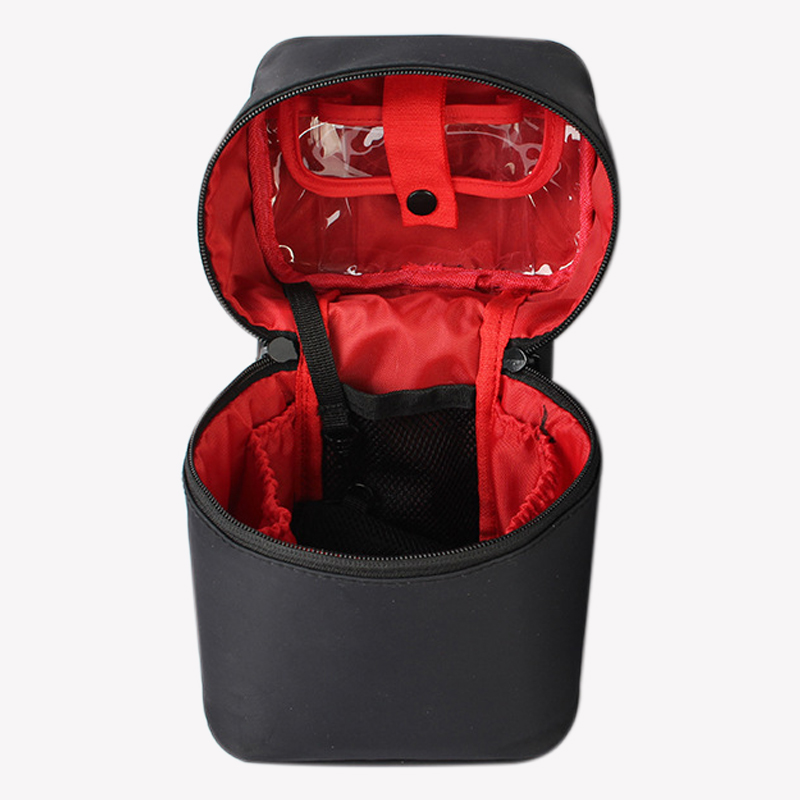 ABZC-Zipper Man Women Makeup Bag Nylon Cosmetic Bag Beauty Case Make Up Organizer Toiletry Bag Kits Storage Travel Wash Pouch Bl