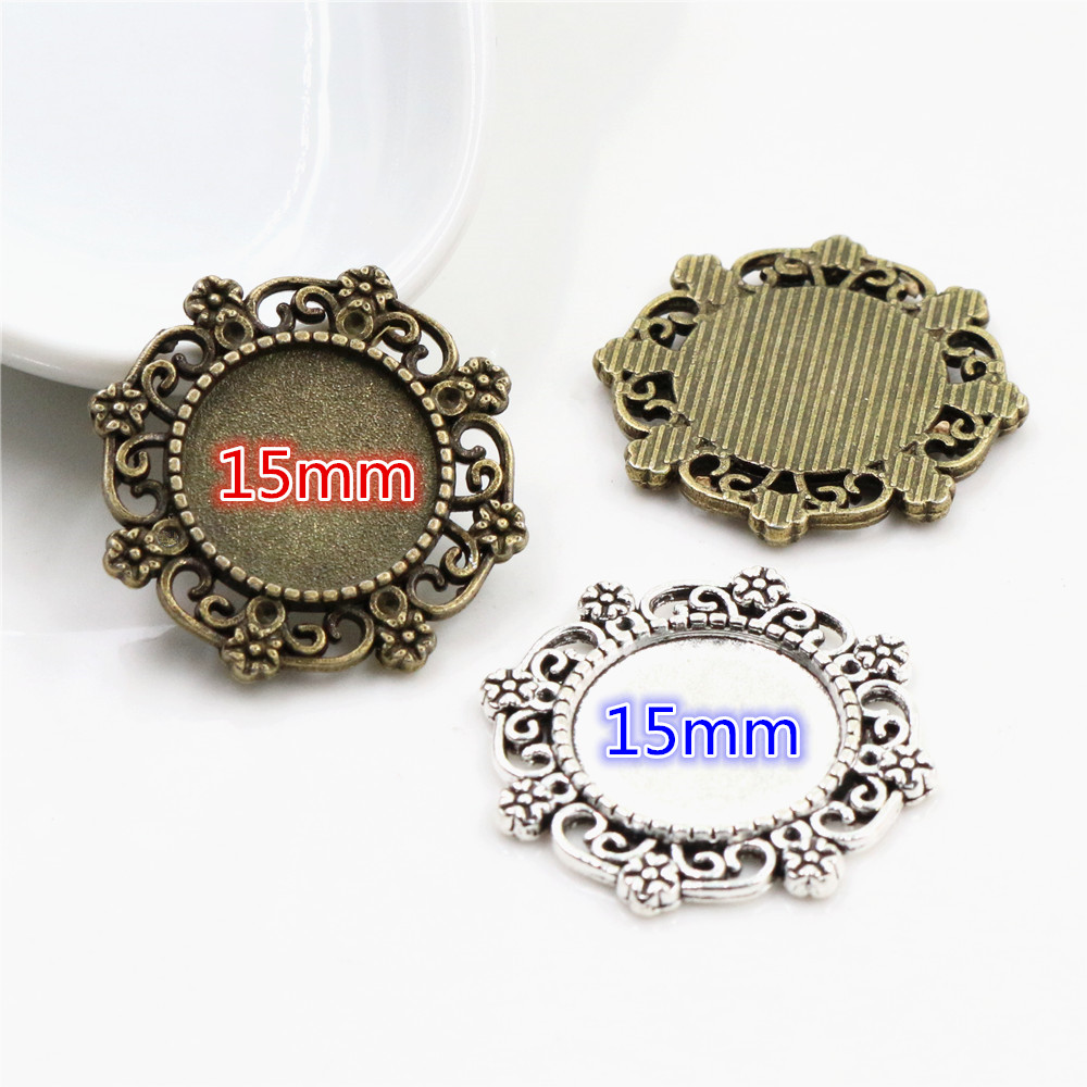 10pcs 15mm Inner Size Antique Bronze And Silver Plated Flower Style Cabochon Base Cameo Setting Charms Pendant
