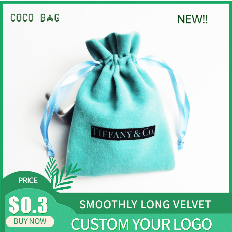 Custom Logo Tiffany-Blue Velvet Bag Soft Flannel Drawstring  Storage Pouches Jewelry Beads Containers Gift Bags