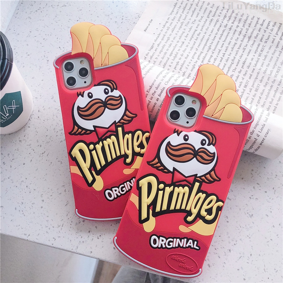 3D Cute Cartoon Chips Phone Case For Iphone 6 6S 7 8 Plus X XR XS 11 12 Mini Pro Max SE 2020 Soft Silicone Rubber Cover Coque