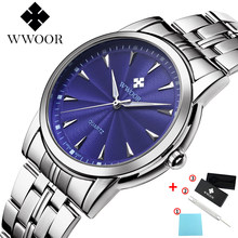 WWOOR Top Brand Luxury Mens Stainless Steel Business Wrist Watch Men Clocks Blue Dial Creative Design Classic Watch Gift For Man(China)