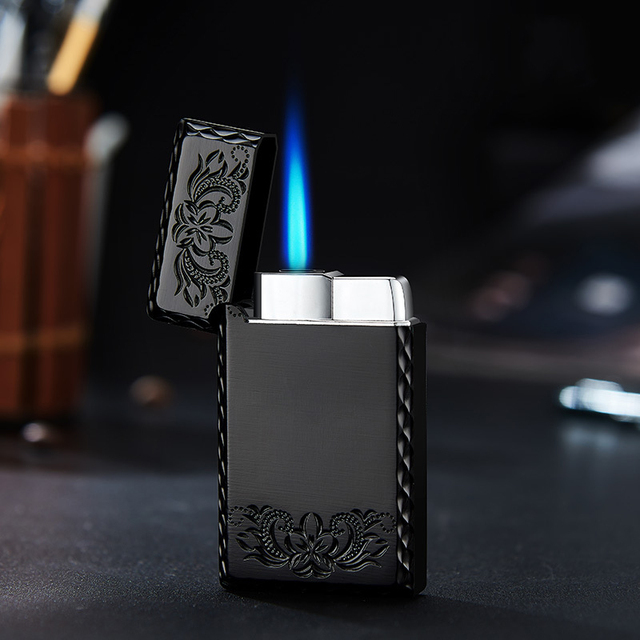2020 New 1300C Blue Flame Butane Turbo Lighter Square Mini Gas Lighter Metal Lighters Smoking Accessories Cigarettes Lighters 1