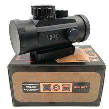 Nowy luneta taktyczna 1X40 MM czerwony zielony Dot luneta optyczny polowanie luneta z 11 20MM dla karabin na zewnątrz wiatrówka tanie tanio Czerwona kropka