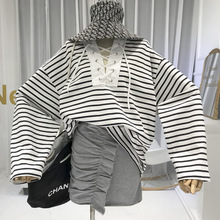 Striped T Shirt Women Oversize Lace Up Tshirt Womens Long Sleeve Tops 2019 Women Designer Clothing Korean Clothes  Casual