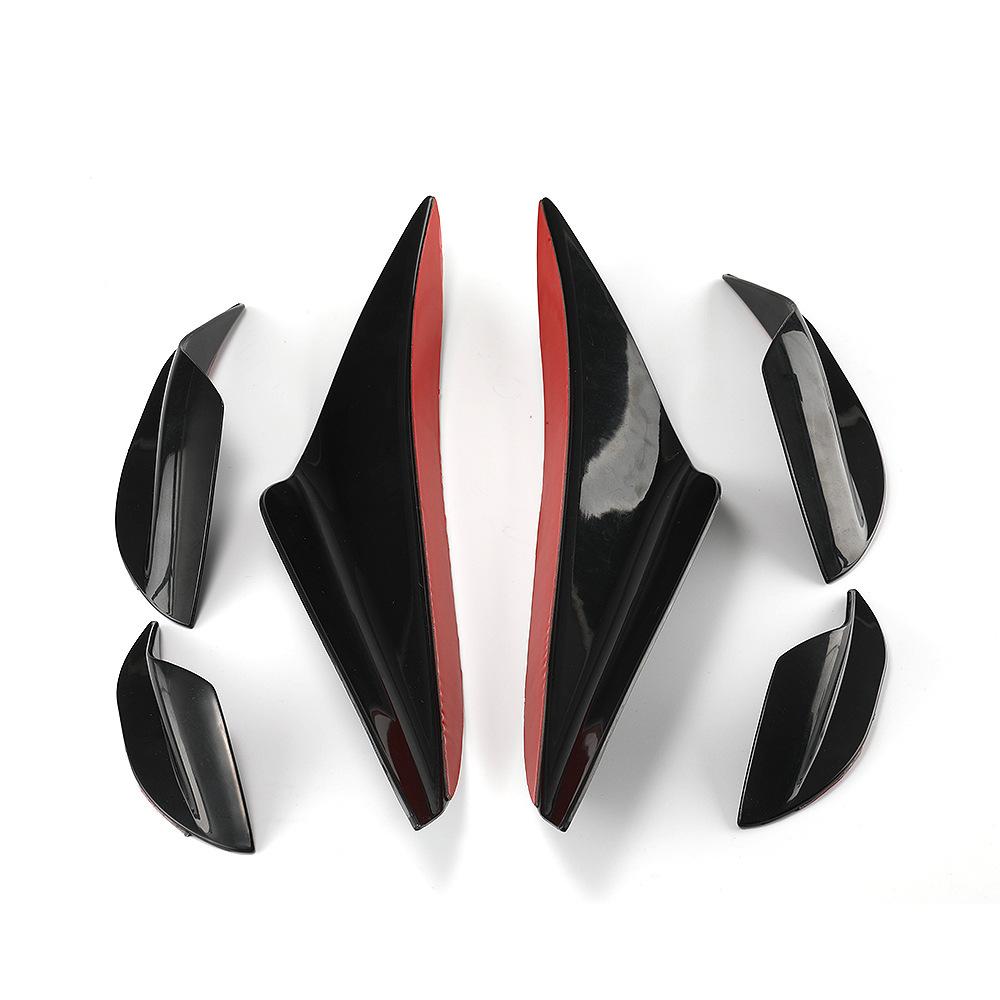 6Pcs Front Bumper Fins Front Bumper Lip Splitters Glossy Blk For BMW E90 E92 E93
