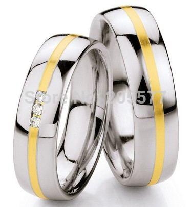 Bagues de mariage faites sur commande de placage à l'or occidental bagues de fiançailles promettent des ensembles d'anneaux pour des couples hommes et femmes