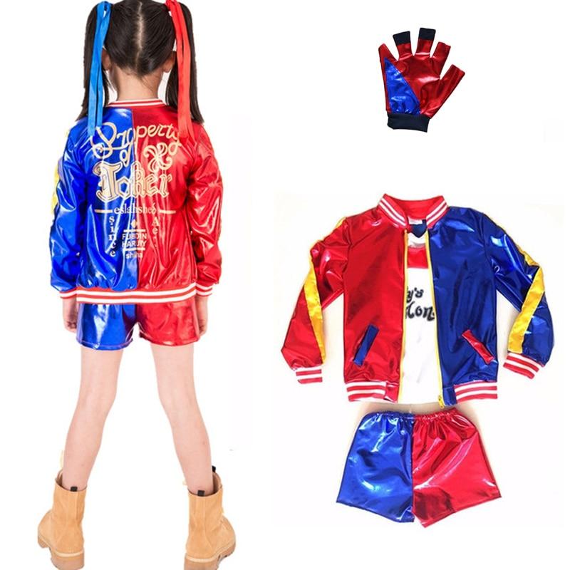 Adult Kids Girls Red /& Blue Jacket Hot Pants Fancy Dress Suicide Squad Costume