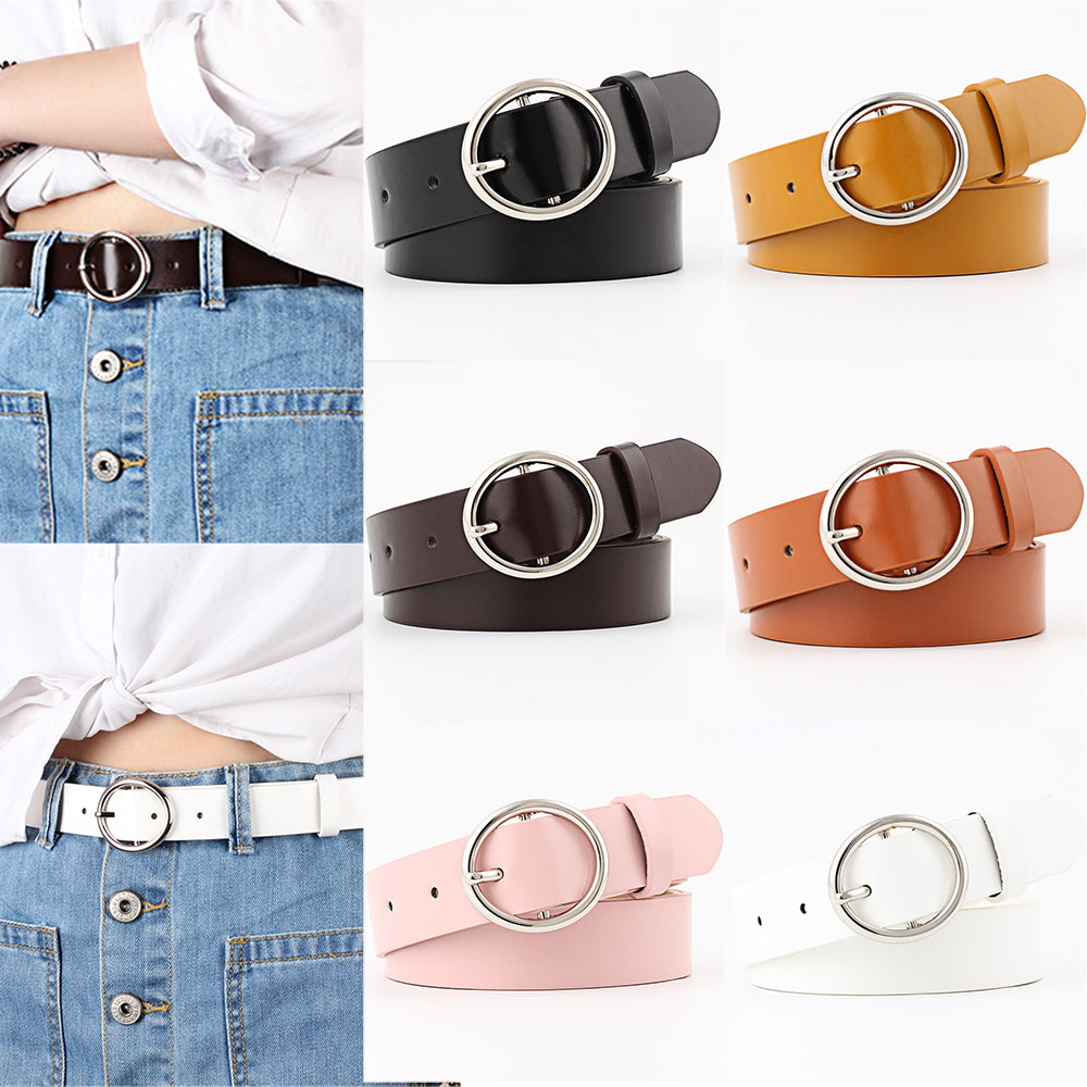 Belts For Women Cinturones Para Mujer Circle Pin Buckles Belt Pasek Damski Ladies Belt Ceinture Femme Faux Leather Female Belts