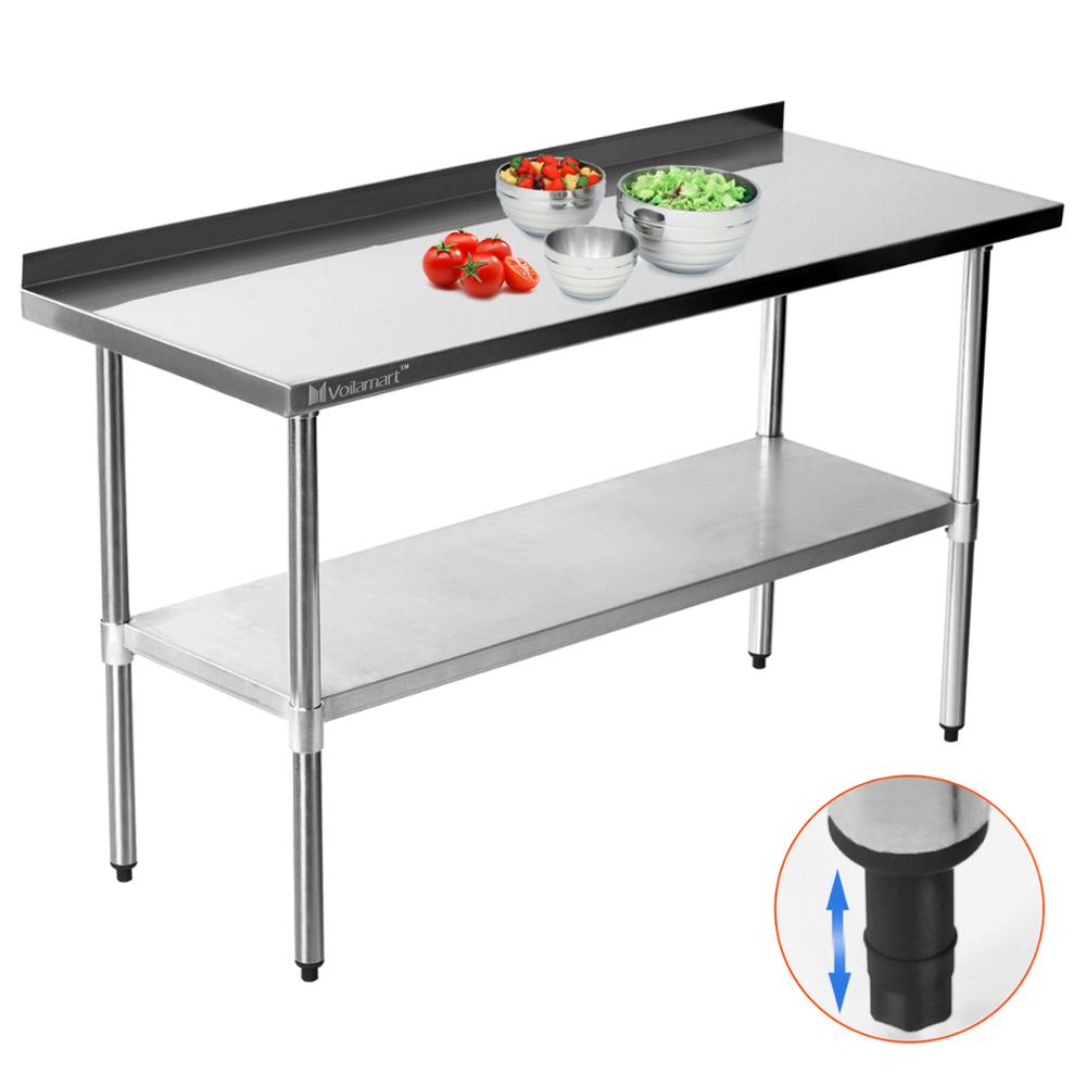 61-152CM Voilamart Stainless Steel Work Table Cake Table Woodworking Metal Hardness Desk for Home Kitchen industry Work 24-60