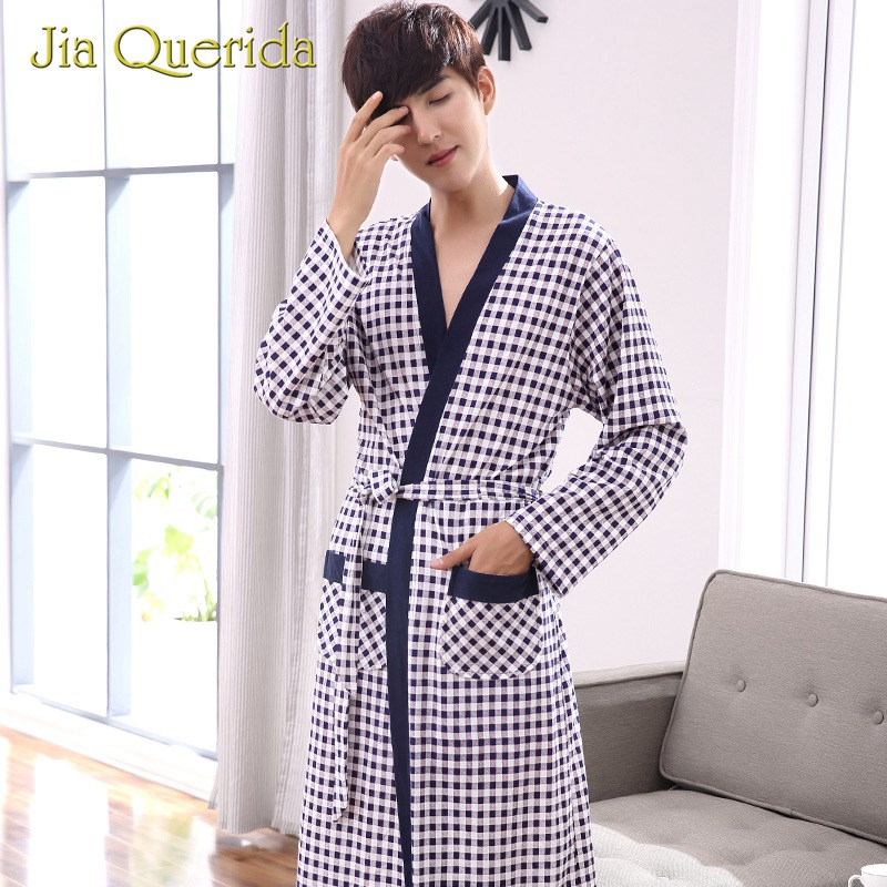 Sleepwear Mens Bathrobes 100% Cotton Plaid Print Design Knitted Pocket Long Sleeves Loose Belt Robe Plush Cardigan Nightgowns