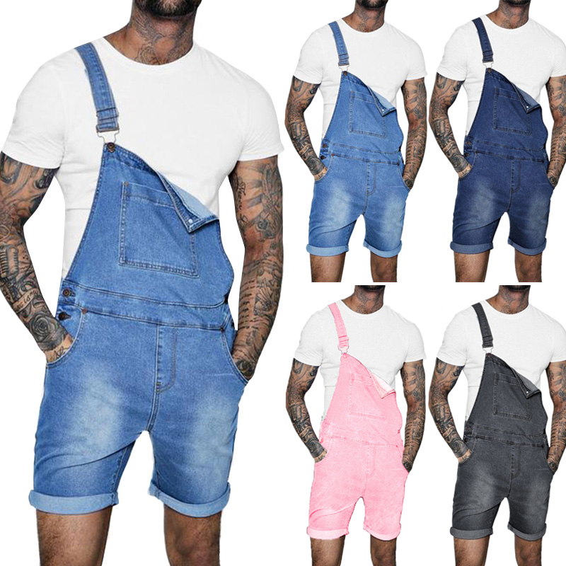 Men Denim Bib Workwear Fashion Denim Jumpsuit Shorts with Pocket Jumpsuits Rompers Summer Hi Street Overalls Suspender Pants