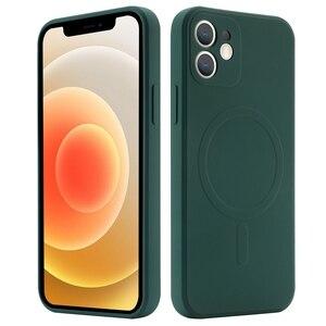 Image 2 - נוזל סיליקון מגנטי טלפון מקרה עבור iPhone 12 מיני 12 Max Pro Magsafe מקרה תמיכה אלחוטי טעינה זרוק הגנת כיסוי