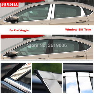 TOMMIA Full Window Middle Pillar Molding Sill Trim Chromium Styling Strips Stainless Steel For Fiat Viaggio