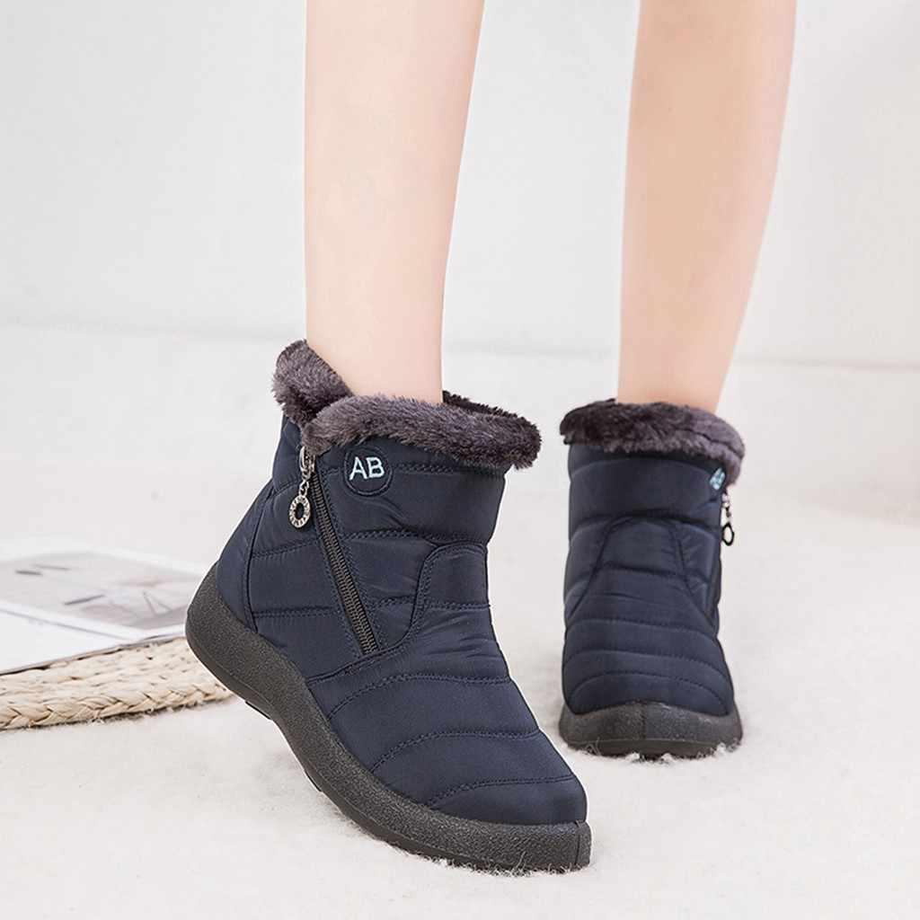 Women Snow Boots Warm Short Fur Plush Winter Ankle Boots Plus Size Ladies Shoes Female Zip Comfort Warm Shoes Footwear #1016