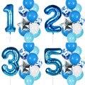 12 шт. в упаковке, для мальчиков на день рождения воздушные шары с 40-дюймовый светодиод синий номер/воздушные шары День рождения украшения де...