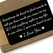 New Year Love Note Boyfriend Gifts Engraved Wallet Cards Inserts Anniversary Gifts party favors Christmas Gifts for Husband Men