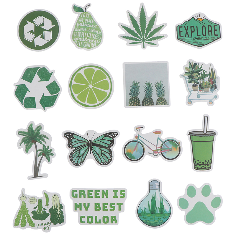 50Pcs Green Theme Stickers DIY Laptop Luggage Guitar Bicycle Skateboard Dec.US