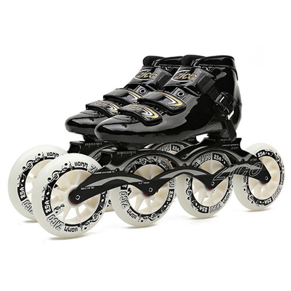 JEERKOOL vitesse Patins à roulettes en Fiber de carbone professionnel 4 roues course patinage ZICO Patins pour enfants adultes hommes Patins SH49