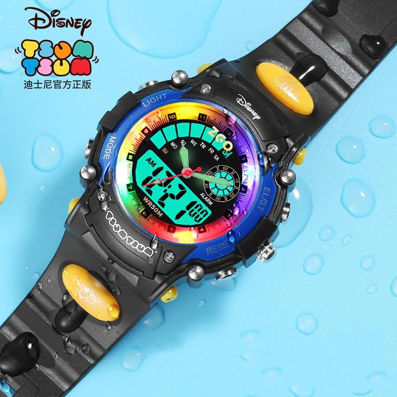 Диснейленд дети% 27 часы мальчик студент водонепроницаемый защита от падения фонарики будильник часы двойной дисплей электронные часы