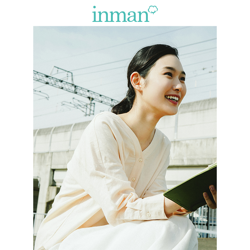 Image 2 - INMAN  Clear Linen V neck Literary Drop shoulder Sleeve Women BlouseBlouses & Shirts   -