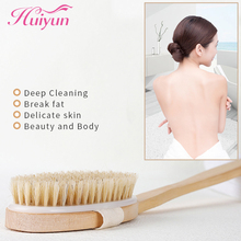 Huiyun Bathing Brush Natural Pure Boar Bristles Wet Dry Skin Body Soft SPA Brush With Handle Wooden Exfoliating Brushes