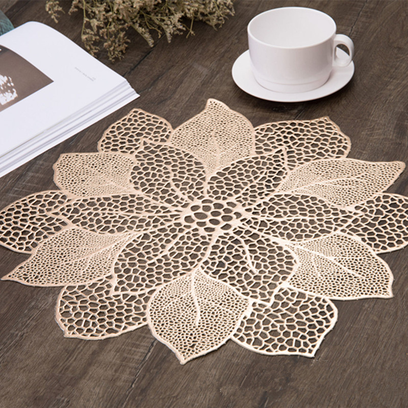 Mat Tabl Stand Mug Coaster Placemat For Kitchen Dining Table Simulation Plant PVC Table Mat Decorative Pad Coasters Home Decor