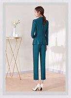 Work Pant Suits 2 Piece Set for Women Blazer Business Suit Set Jacket & Trouser Office Lady Suit Feminino 2020 Plus SIze LX2617