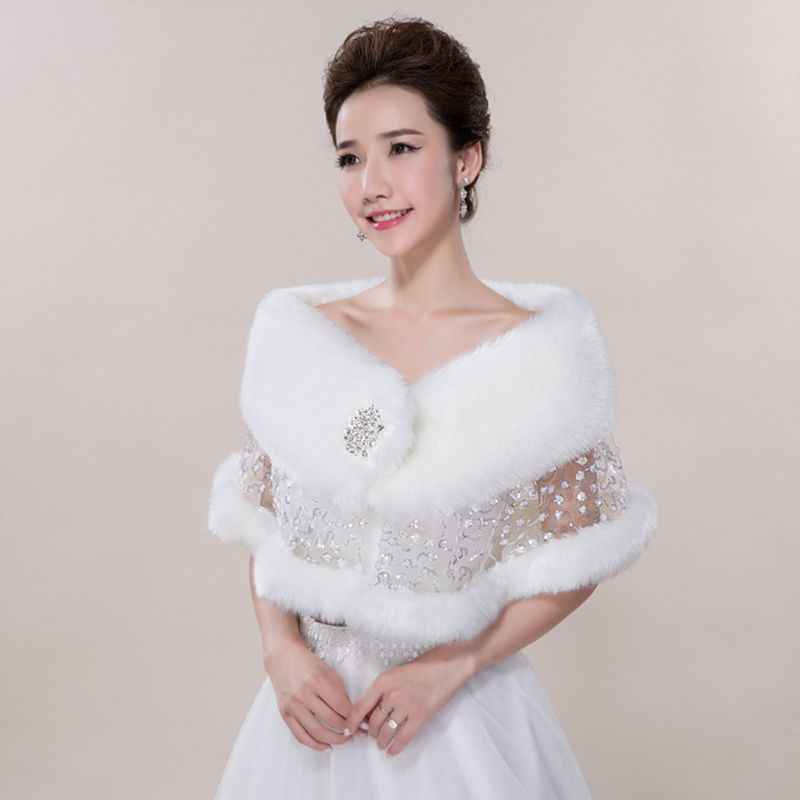 Bride Wedding Shawl Autumn Winter Plush Lace Rhinestone Shawls Cape Scarf
