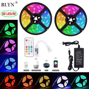10m smart wifi led light strip 5050 rgb 60led/m waterproof led tiras with flexible RF remote controller 12V 6A led adapter power
