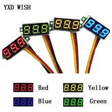 Voltmètre à 3 fils, 5 pièces, 0.28 pouces, 0-100V DC, Mini jauge, voltmètre, affichage numérique, moniteur de détecteur