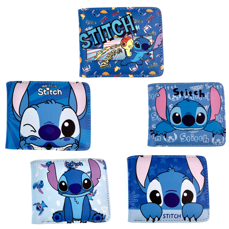 Stitch Coin Purse Short 5 Stytles Cartoon Anime Lilo & Stitch Wallet Holder ID Card Girl Bag Coin Leather Zipper Kids Baby Gifts