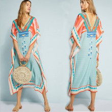 Beach Cover Up Vestido De Praia V-Neck Long Tunic Bathing Suit Ups Robe Plage Kaftan Pareo Swim