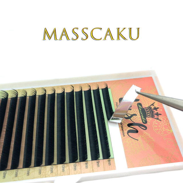 MASSCAKU 16rows/case 8~16mm and mix premium natural synthetic mink individual eyelash extension makeup cilia professional 1