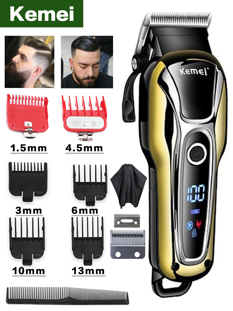 Hair-Clipper Trimmers Barber Lcd-Display-Machine Professional Electric Kemei for Men