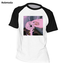 Sad Anime Vaporwave Raglan T-Shirt Aesthetic Japan Otaku T-Shirt Male Casual T Shirts 100% Cotton Short Sleeve Tees Loose casual loose stripe raglan sleeve t shirt