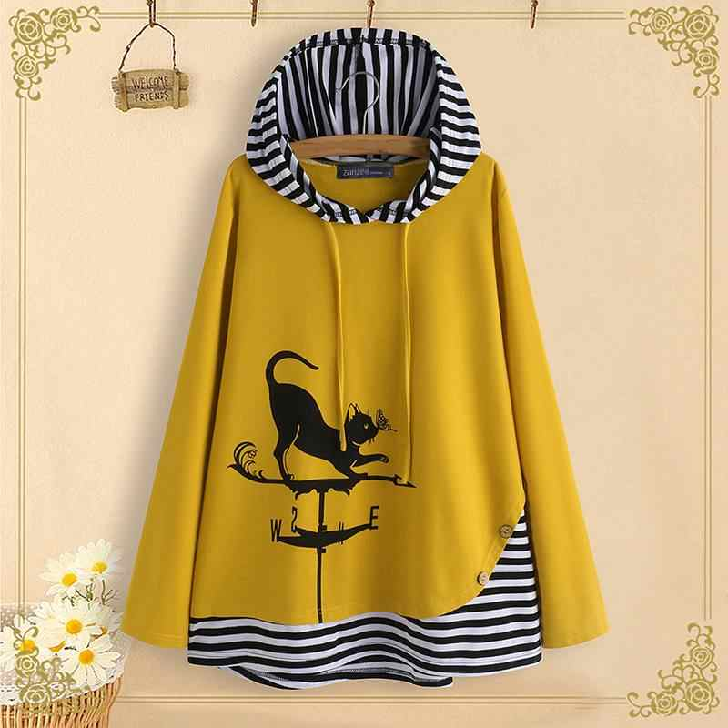 M 5XL ZANZEA Sping Patchwork Shirts Vrouwen Kat Cartoon Print Tuniek Tops Hooded Gestreepte Lange Mouwen Party Blouse Vrouw Blusas