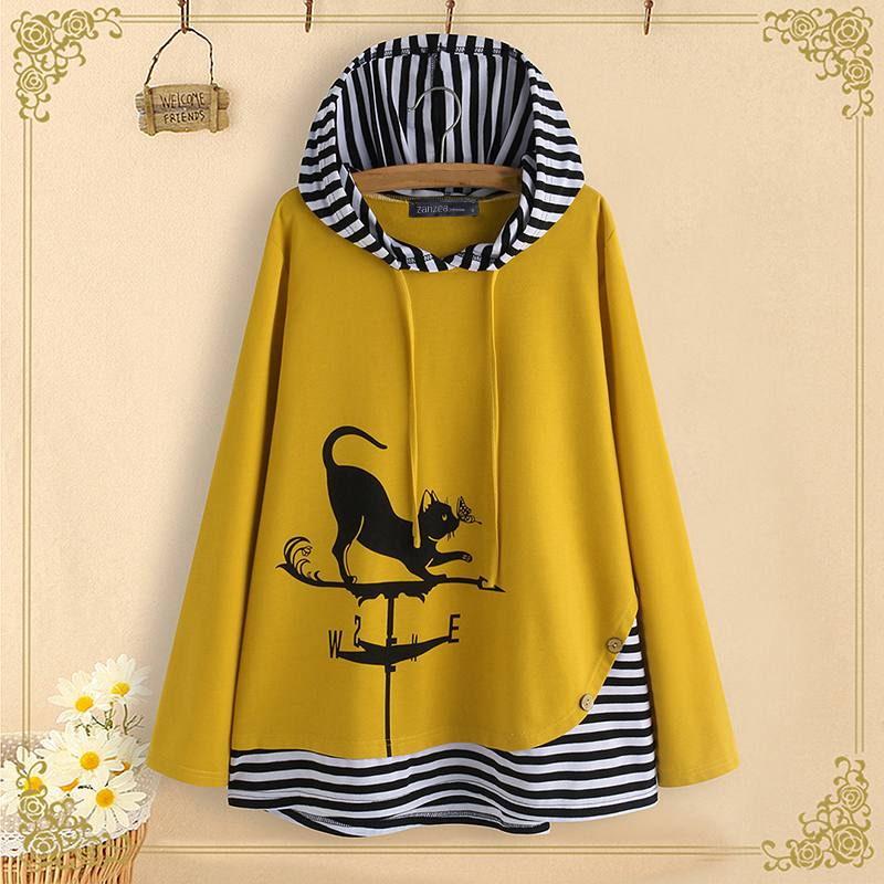 M 5XL ZANZEA Sping Patchwork Shirts Women Cat Cartoon Print Tunic Tops Hooded Striped Long Sleeve Party Blouse Female Blusas