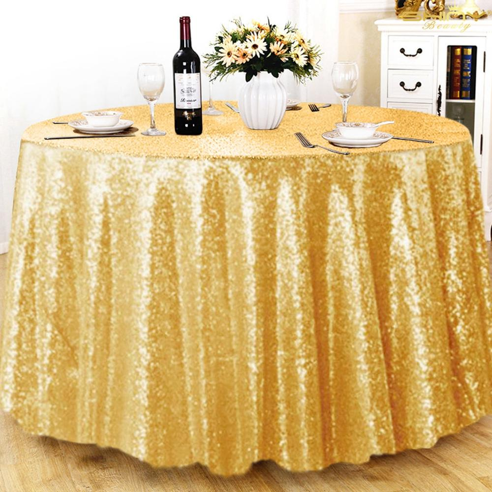 132 Inch Gold Sequin Tablecloth Big Sparkly Sequin Round Tablecloths For Wedding Banquet Party Kitchen Dining Shiny Gold-M0111