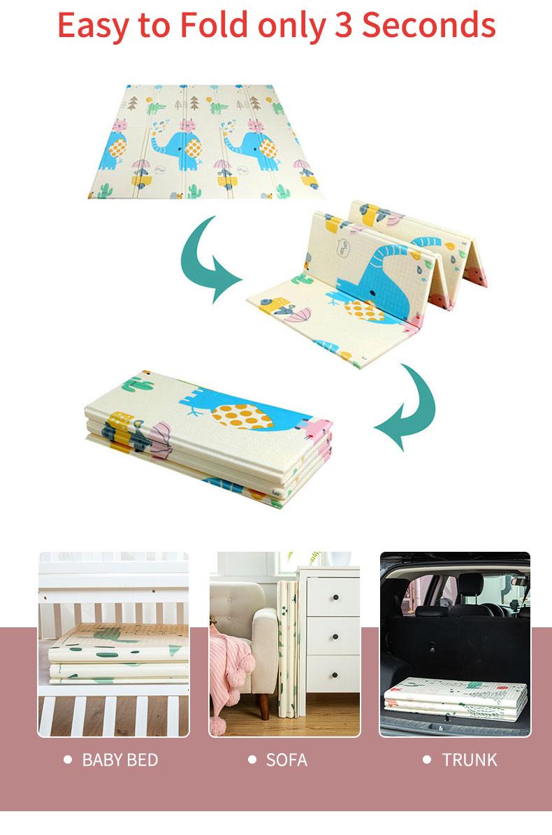 H36c051124ca44c5181d8ed3517c51250K 180X200CM Baby Mat 1CM Thickness Cartoon XPE Kid Play Mat Foldable Anti-skid Carpet Children Game Mat
