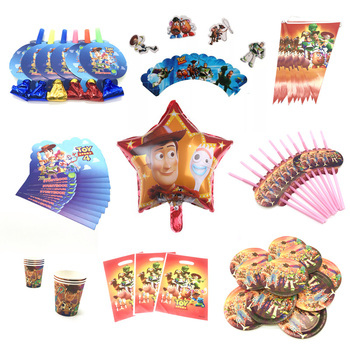 Cartoon Toy Story 4 Disposable Paper Napkin Banner Tablecloth Straws Cup Plates Baby Shower Birthday Party Decoration Supplies image