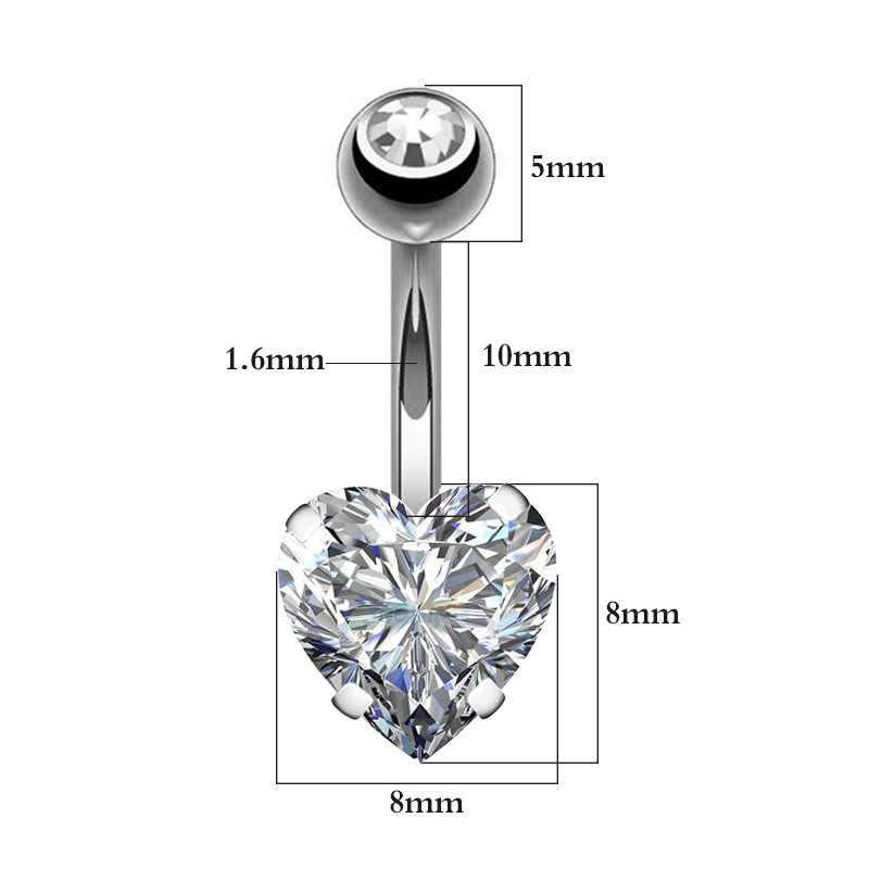 טבור טבור פלדה כירורגית טבעת משקולת זירקון לב פירסינג סקסי בטן ברים טבור טבעות בטן פירסינג