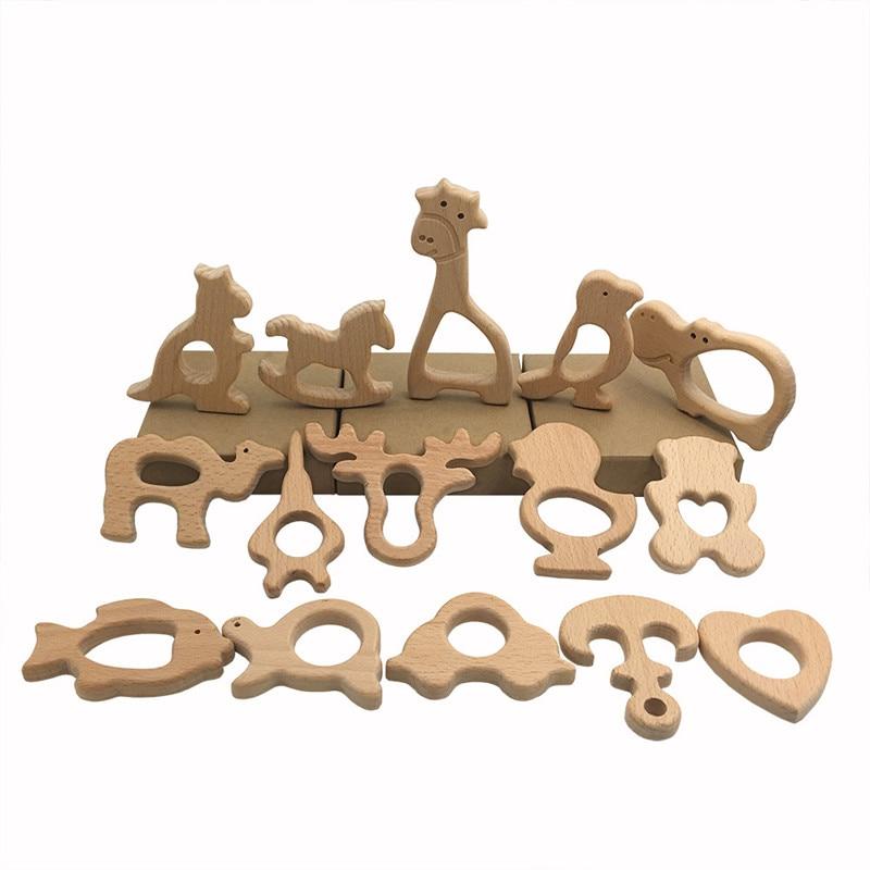 Cartoon Baby Wooden Teethers Food Grade Beech Wood Animal  Natrual Wooden Shape Pacifier Wooden Teether Safe Newborn Toys