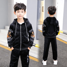 2019 Children Kids Boys Clothing for 6 7 8 9 Years fall Winter Sets Hooded Coat Suits pleuche Boys Coat+Pant 2Pcs Clothes set